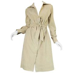 Museum Held c1972 Halston Ultrasuede Cream Dress