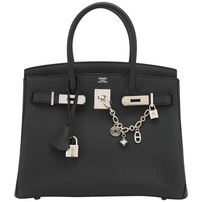 Hermes Black 30cm Birkin Togo Palladium Hardware Bag
