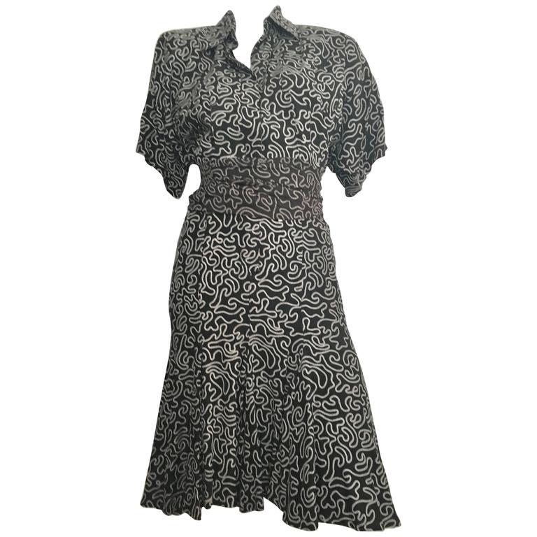 Norma Kamali Silk Pleated Dress With Sash Size 4.