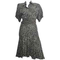 Norma Kamali Silk Pleated Dress With Sash Size 4.