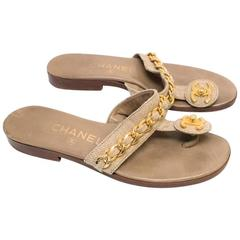 Chanel Beige Woven Thong Sandals
