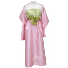 1960's Bob Bugnand Pink & Green Silk Strapless Dress With Wrap