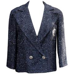 Spring 2012 Chanel Navy Blue Tweed Jacket