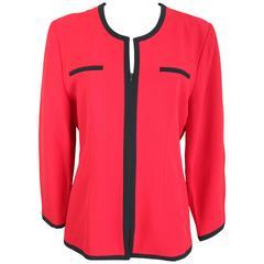 Gai Mattiolo Couture Blazer Red Italian Oversize Jacket, 1980