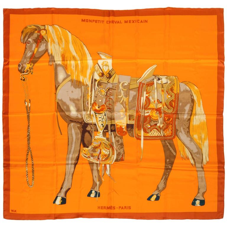 "Hermes New 52"" Silk Oversize Monpetetit Cheval Mexicain Shawl Scarf For Sale"