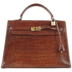 HERMES KELLY 32 Vintage Crocodile Medium Brown Seller Gold Hardware