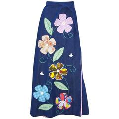 C.1970 Bohemian Denim Wrap Maxi Skirt With Appliques