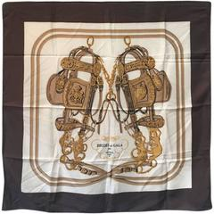 Hermes Vintage Brides de Gala Silk Scarf in Brown