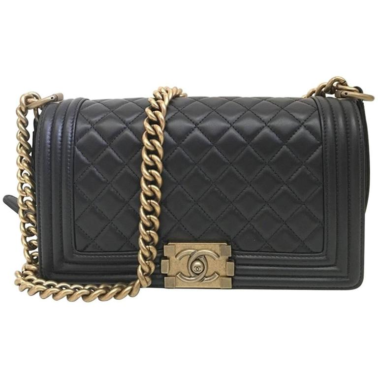 Chanel Quilted Old Medium Le Boy Flap Nappa Black 1