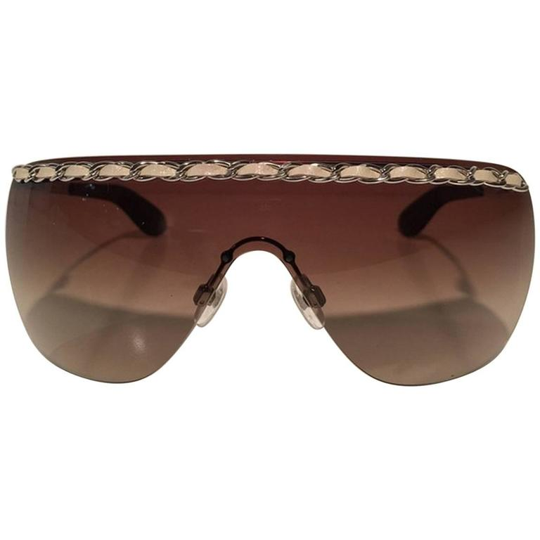 Chanel Brown Shield Braided Leather Sunglasses 1