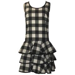 Dolce & Gabbana New With Tags Black White Check Ruffle Tiered Skirt Sun Dress