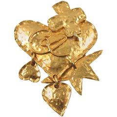 Christian Lacroix Paris Signed Large Gilt Metal Heart Pin Brooch with Charms