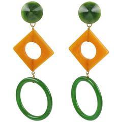 Vintage 1960s Pop Art Bakelite clip on Earrings Forest Green & Blood Orange