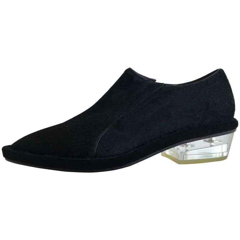 Simone Rocha Black Pony Hair Shoes (39) For Sale