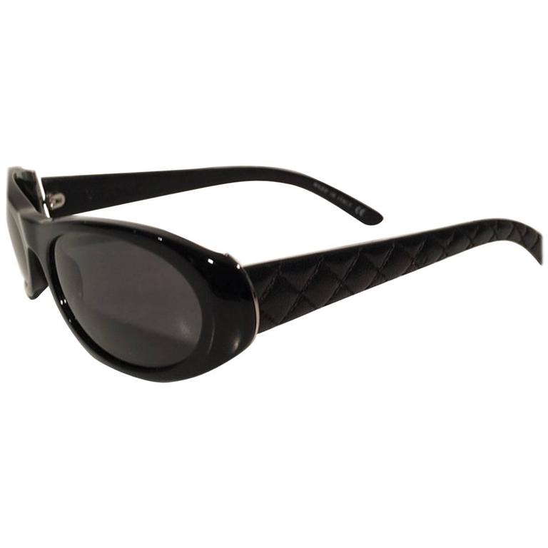 Chanel Black Quilted Leather Oval Sunglasses at 1stdibs : chanel quilted sunglasses - Adamdwight.com
