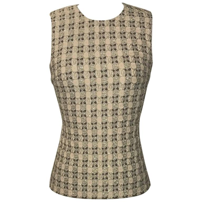 Prada Gold Beige and Pink Patterned Sleeveless Shell Top