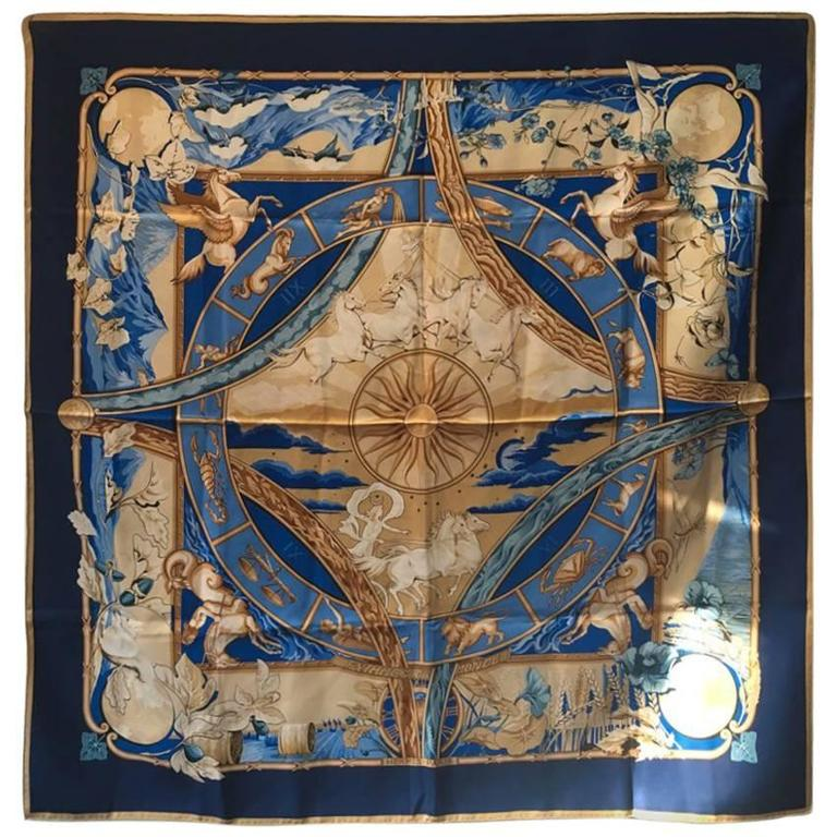 Hermes Rythmes du Monde Silk Scarf in Blues 1