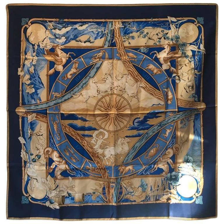 Hermes Rythmes du Monde Silk Scarf in Blues For Sale