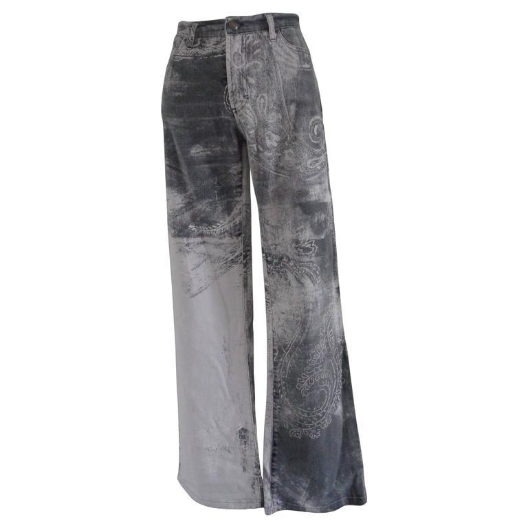 Roberto Cavalli Grey White Cotton Denim Pants