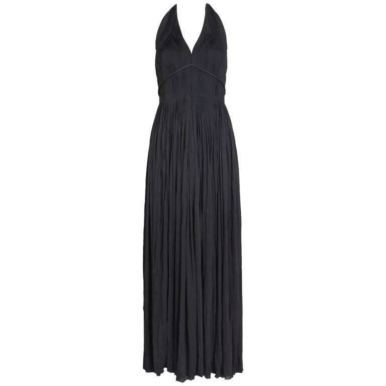 1970's Madame Gres Haute Couture Black Pleated Drapé Halter Gown W/Shawl & Slip 1