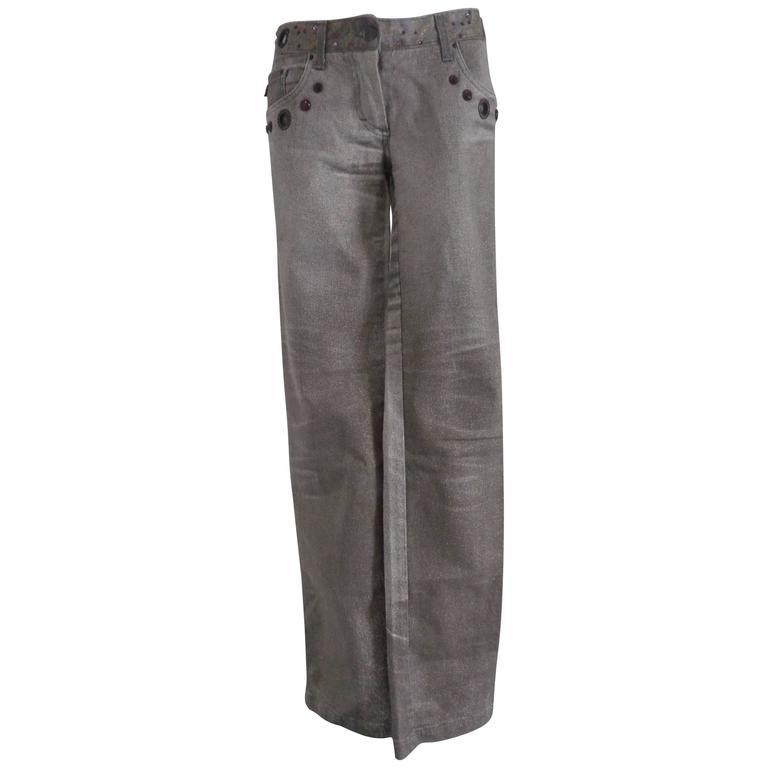 Roberto Cavalli Grey Brown with studs Denim Pants