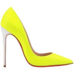 "CHRISTIAN LOUBOUTIN S/S 2015 ""So Kate"" 120 Matte Flourescent Yellow Leather Pump"