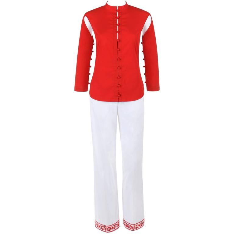 "ALEXANDER McQUEEN S/S 2000 ""Eye"" 2 Pc Red Cutout Top White Embroidered Pants Set"