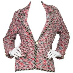 Adolfo Multi-Colored Tweed & Silk Jacket