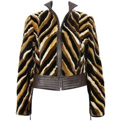 Vintage Gianni Versace Couture Striped Mink Jacket 40