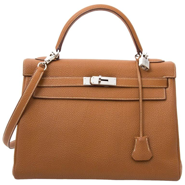 Hermès Kelly 32 Togo Gold PHW For Sale