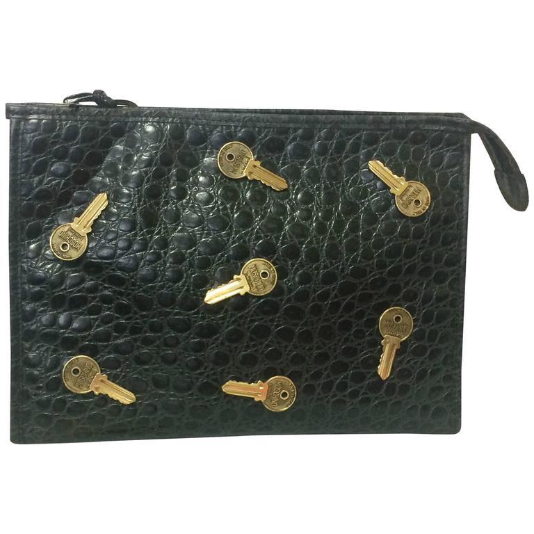 Vintage MOSCHINO classic croc-embossed black leather clutch bag with key logo 1