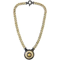 1990s Gianni Versace gunmetal and gold tone medallion chain