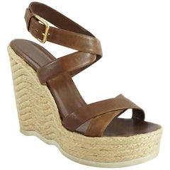 YSL Brown Leather Ankle Strap Straw Wedges - 41