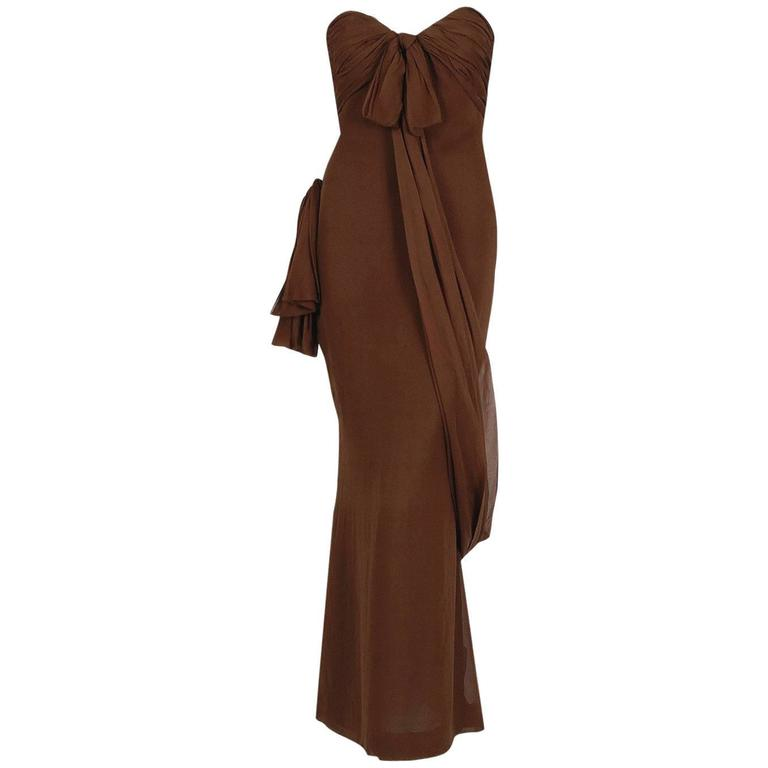 1987 Yves Saint Laurent Haute-Couture Mocha Brown Silk Strapless Sculpted Gown