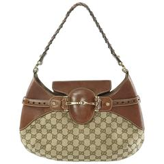 Gucci Brown Monogram Canvas Gg Horsebit Shoulder Bag