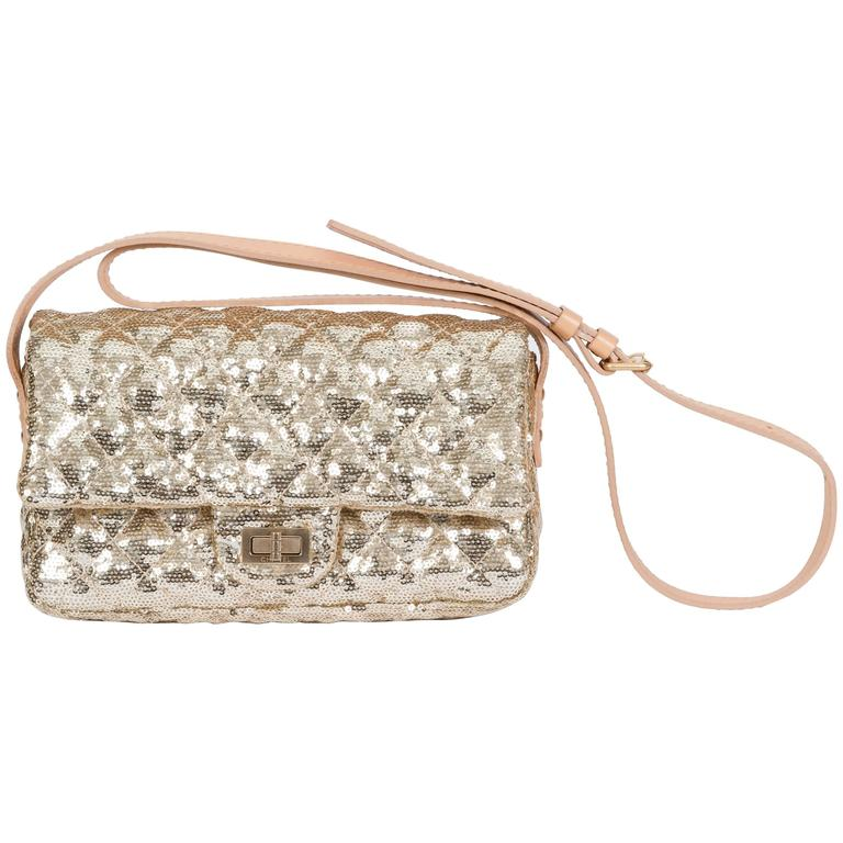 Chanel Gold Sequins Cross Body Bag 1