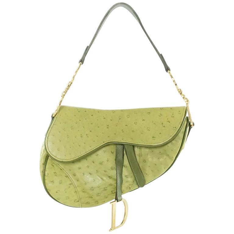 2aeb4cf17bb2 Christian Dior Green Ostrich Saddle Bag with Logo at 1stdibs