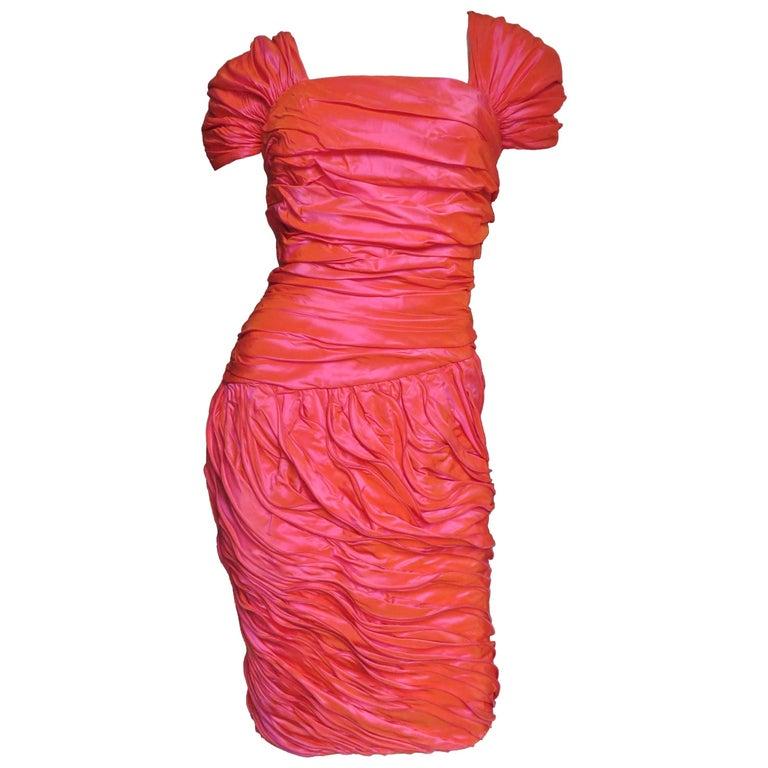 Louis Feraud 1980s Wire Edge Ruffles Dress For Sale