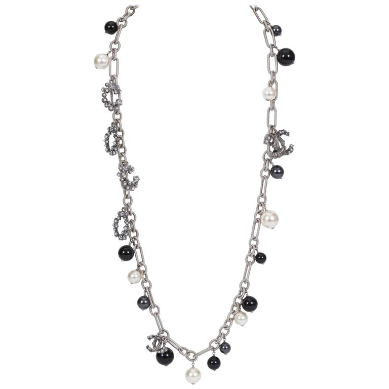 Chanel Coco Pearl Silver Long Necklace 1
