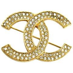 Chanel Vintage Gold Double Tour Rhinestone CC Evening Pin Brooch