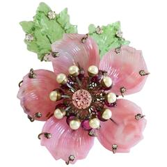 Lawrence Vrba Pink and Green Glass Flower Brooch with Rhinestones