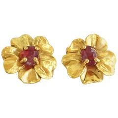 Goossens Paris Gold Flower Earrings with Red Gripoix
