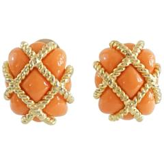 Kenneth Jay Lane Orange and Gold Quilted Earrings