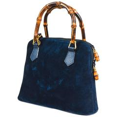 Vintage Gucci Navy Blue Suede Leather Bamboo Handle Handbag