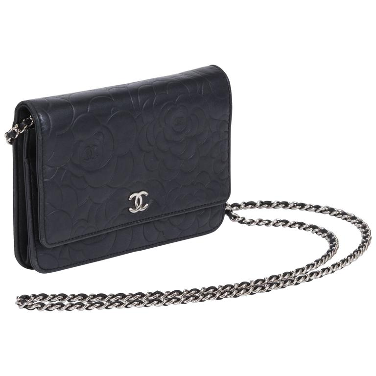 45387c4261d742 Chanel Black Camellia Wallet on a Chain Bag at 1stdibs