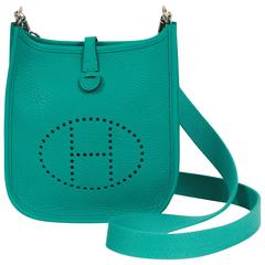 Hermes Mini Evelyne Blue Paon Clemence