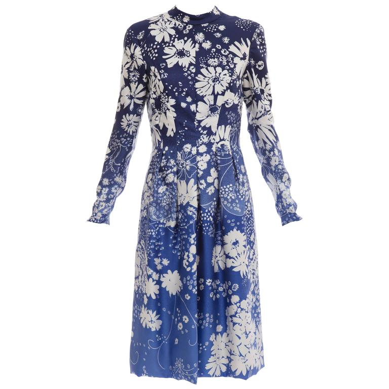 Pauline Trigere Navy Blue Ombre Silk Floral Long Sleeve Dress, Circa 1980's 1