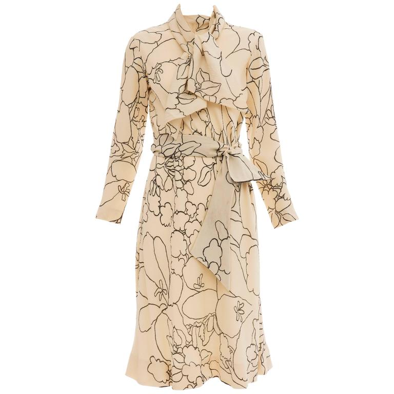 Pauline Trigere Cream Black Floral Silk Crepe Long Sleeve Dress, Circa 1980s For Sale