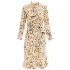 Pauline Trigere Cream Black Floral Silk Crepe Long Sleeve Dress, Circa 1980's