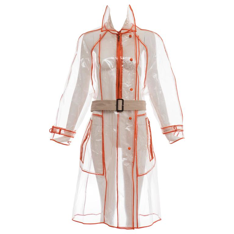 Prada Transparent PVC Rain Coat Contrasting Orange Trim, Fall 2002  For Sale